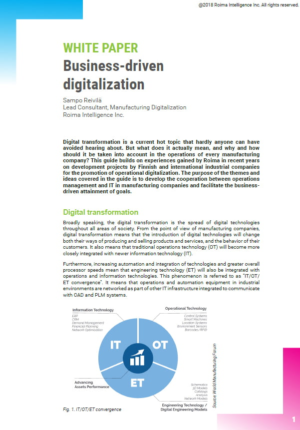 First page of white paper Business-driven digitalization